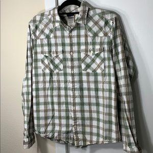 Patagonia green/white/brown plaid buttoned shirt